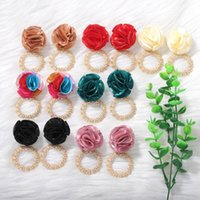 Trendy Fabric Flower Dangle Earring for Women Bohemian Fashion Gold Metal Round Earrings Party Statement Jewelry