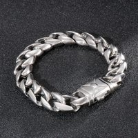 Charm Bracelets Jewels Store 13mm Classis Curb Cuban Link Bracelet Men 316L Stainless Steel Hand Chain For Man JS16839-D