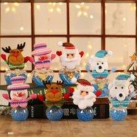 Gift Wrap Cute Christmas Candy Transparent Jar Storage Bottle Little Bear Xmas Elk Santa Snowman Bag Boxes Kids