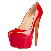 Ladies Handmade Sky High Heels Pumps Patent Leather Slip-on Round-toe Evening Party Prom Office-lady Sexy Platform Fashion Court Red Shoes N255
