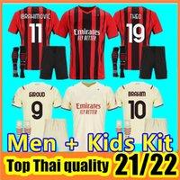 Tailândia 21 22 2 2 2 22 AC Futebol Milão Ibrahimovic Jerseys 2021 Tonali Mandzukic Kessie Brahim Bennacer Theo Rebic Leao Homens Kid Sets Socks Kits de futebol