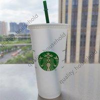 Starbucks Mermaid tanrıça 24 oz / 710 ml Plastik Kupalar Tumbler Kullanımlık Temizle İçme Düz Alt Ayağı Şekli Kapak Saman Bardaklar Bardian 50 adet Ücretsiz DHL