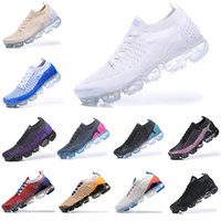 Vapormax Flyknit 2018 2019 Running Shoes atmosphere cushion Triple Black Designer Mens Women Sneakers Fly White knit cushion Trainers Zapatos