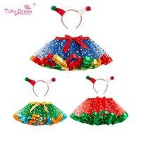 Skirts Kids Tutu Skirt Christmas Red Green PettyFree Headband Polka Dot Princess Halloween PartySummer Girl Clothing