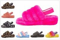 Moda luxo mulheres filhos meninas designers botas sandálias fluff yeah slide motlee liso amarelo pantoufle peludo chinelos slides flip flip flip t1cc #