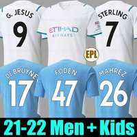 مانشستر لكرة القدم جيرسي 21 22 ج. جيسس سيتي ستيرلينج فيران دي بروين فودين المشجعين لاعب 2021 2022 قمصان كرة القدم رجل موحدة الرجال + أطفال كيت