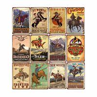 Metal Painting Western Cowboy RetroTin Sign Ride Horse Art Poster Bar Pub Cafe Wall Plates Vintage Plaque Home Decor 20*30 cm