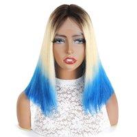 Ishow Transparente 13x1 T Parte Lace Pelucas para el cabello humano Brasileño Straight Ombre Bob Wig 613 Rubia azul rojo
