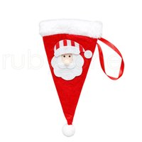 Christmas Hat Cutlery Bag Candy Gift Bags Cute Pocket Fork Knife Candy Holder Table Dinner Decorative Tableware RRB8888