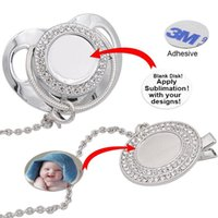 Customize Sublimation Bling Pacifier with Clip Necklace Crystals Party Favor For Baby Keepsake Brithday Gift OWE7476