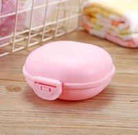 마카롱 컬러 욕실 비누 케이스 접시 홀더 홈 샤워 여행 하이킹 컨테이너 PP 휴대용 비누 상자 뚜껑 DWF6632