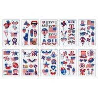Festas Festas American Flag Tattoos Dia Independência Dia Face Braço Maquiagem Adesivos Corporal Art Estados Unidos Conveniente