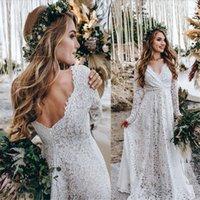 Boho dentelle Robes de mariée pour femme mariée 2021 manches longues Dossière A-Line Bohemian Robe de mariée Robe de mariage Vestido de Noiva