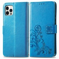 Cell Phone Cases For iPhone 12 Pro Max Made of PU Leather Cover Lucky Four Leaf Clover Pattern Use as Kickstand with Hand Strap