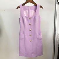 Violet Top Quality Design originale Design Casual Senza maniche Abito senza maniche Moda Sexy Lady Elegante Vestiti estivi Collar quadrato