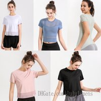 T-shirts Lu Yoga T-shirts T-shirts Pour Femmes Designer Femme T-shirt Tenue Tenue respirante Mesh Sport Fitness Dentelle 2021