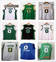 Sewn Men Youth Kids Jayson 0 Tatum Jerseys 2021 New City Green Black Black Bianco Basket Blay College Shirts Spedizione veloce guadagnata guadagnata