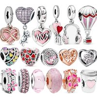 Authentic S925 Silver Charms 925 Sterling Belle Coeur Rose Charm Charme Fit Pandora Bracelet et collier Girl Bijoux