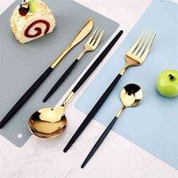 24 unids / 30 unids cocina vajilla vajilla cuchara cuchara cuchillo conjunto lavado utensilios cubiertos almuerzo de platos Cena completa brillante 210804