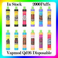 VAPMOD QD26 Disposable Device Kit Cigarettes ALL IN ONE System 2000 Puffs Battery 6.0ml Prefilled Cartridge Pod RGB Light Vape VS Air Bar Lux