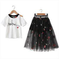 Cute Kids Girls Casual Short Sleeve Costume Set Summer Letter Print T Shirt Embroidery Mesh Skirts Suits 2pcs Princess Dress