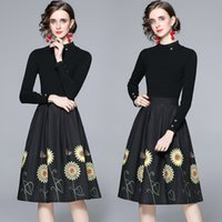 Elegant Black Two Piece Dress 2021 Fashion Pullovers Tops + Retro Floral Skirt Vacation Party Sweet Women Designer Sets Spring Autumn Runway Office Lady Casual Suits