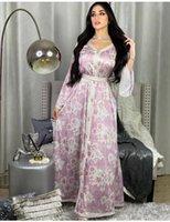 Muslim Dress Abayas For Women Turkey Dubai Caftan Robe Flower Print V-Neck Maxi Plus Size Vestidos Partyclub Ethnic Clothing