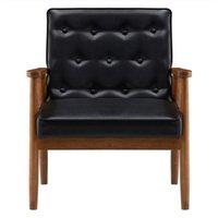 Casa sala de estar mobília preto moldura de madeira moderno design jantar pu capa cadeira