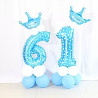 Party Decoration 32 Inch Pink Blue Foil Number Balloon With Crown Wedding Anniversary Latex Decor Kids Birthday Air Ball Supplies