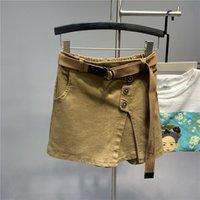 Skirts Elastic Waist Irregular Slit A- Line Washed Cotton Anti-Exposure Denim Skirt Women's Korean-Style Short Slim