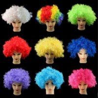 Хэллоуин дискотека вьющиеся парики колпачки радуга афро парики косплей клоун аксессуары для волос украшения ребенка для взрослых костюм футбольный фанат украшения волос для развлечения