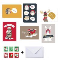 Greeting Cards 6pcs Cartoon Christmas With Envelop And Stickers Happy Year Thank You Card Decor Invitations