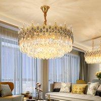 Romantische Prinzessin K9 Kristall-Kronleuchter LED-Licht Amerikanische Moderne Krone Kronleuchter Beleuchtung NeuLok Design Hängelampen Dia60cm 80 cm 100 cm