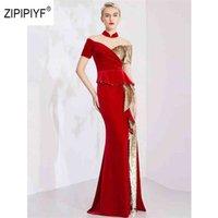 원래 섹시한 스팽글 저녁 삐걱 거리는 러프 대비 패턴 황금 레드 긴 파티 짧은 소매 인어 Evenig Dress AB266 210524