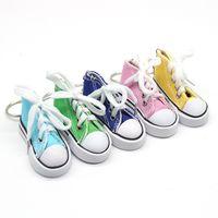 Nuevo moda al por mayor de zapatillas de deporte 3D llavero colorido simulación de lona zapatos llaves anillo muñecas accesorios57 q2