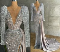 Aso Ebi 2021 Arabic Plus Size Silver Sparkly Sexy Evening Dresses Deep V-neck High Split Prom Formal Party Second Reception Gowns Dress ZJ305
