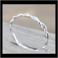 Band Jewelrywedding Jewelry Style Round Diamond Rings For Women Thin Rose Gold Color Twist Rope Stacking In Stainless Steel Ps1705 Drop Deli