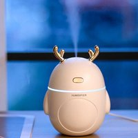 Lovely Deer Air Humidifier USB Ultrasonic Cool Mist Maker Fogger LED Light 3 in 1 Mini Aroma Diffuser Essential oil Humificador 210709