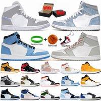 1s Erkek Basketbol Ayakkabıları 1 UNC Twist Dark Mocha Üniversitesi Mavi Siyah Hiper Kraliyet Gölge Duman Gri Jumpman Spor Sneakers Bayan Eğitmenler Boyut 13 Kutulu