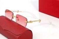 Металлические деревянные белые прямоугольные деловые солнцезащитные очки повседневные простые мужчины и женщины мастер дизайн стиль высокого качества с оригинальной коробкой
