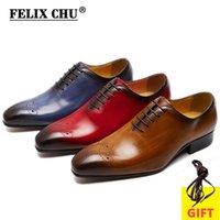 Felix Chu grande tamanho 7-13 oxfords couro homens sapatos inteiro corte moda casual pointed toe negócios negócios macho vestido de casamento sapatos 210310