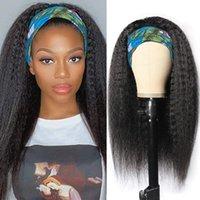 Headband Wigs For Black Women Malaysian Kinky Straight Human Hair With Scarf Synthetic Wig 250 Density