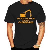 Fashion T Shirt Todavía juega con excavadores Divertido Diverger Driver JCB Diseño Nuevo Manga corta Hombres Ropa de aptitud Masculina Tops fresco