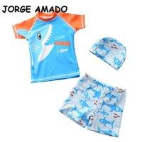Summer Kids Boys Swimwear 3-Pcs Sets Cartoon Shark Top + Swimming Trunks+ Bathing Cap Swimsuit Children Outfits E1054 210610