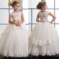 Girl's Dresses White Ivory Flower Girl For Wedding Formal First Communion SKirt Kids Lace Applique O-neck Sleeveless Ball Gown