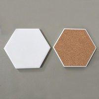 Creative Hexagon Ceramic Cork Coaster mat for Wooden Table Home Ceramics Decoration Cup Mats FHL451-WLL