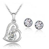 Coração design pingente colar brincos jóias conjunto feito com elementos swarovski para mulheres festa menina dia dos namorados bijoux presente 1141 T2