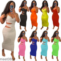 2021 Women Dress Designer Slim Sexy Sling Sleeveless Casual Midi Dress Hollow Out Split Layer Suspender Solid Color Dresses Skirt 9 Colours meet0808
