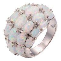 Alyans Nefis Doğa Gemstone Oval Opal Yüzük Kadınlar Beyaz Altın Kaplama Nişan Takı için