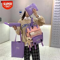 4 stücke / set koreanische reizende mädchen rucksack bump farbe stil net tasche teenager student schultasche mode preppy reise # hu2t